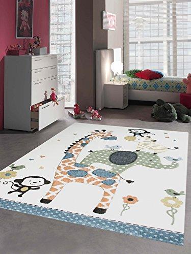 Kinderteppich Spielteppich Babyteppich mit Tiere Elefant Giraffe in Beige Creme Größe 120x170 cm