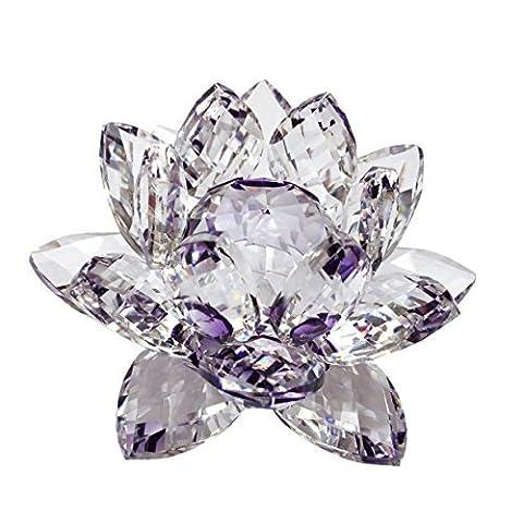 Unbekannt 7,6cm hochwertiges Kristallglas uns Blumen Feng Shui Home Decor Violett (Craft Geschenkboxen)