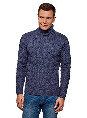 oodji Ultra Hombre Jersey de Punto Texturizado con Decoración en Cuello, Gris, ES 50 / M