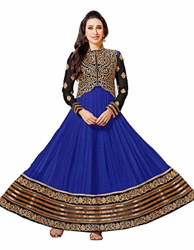 RG Traders Women's Blue Velvet Fabric Salwar Suit.