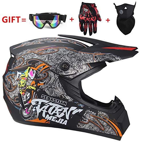 QLG&S Doppel-Sport-Motorrad-Offroad-Helm, Offroad-Skateboard-ATV-Roller-Helm und Maske Wind Handschuhe und Brille (S, M, L, XL) Schwarz,matteFarbe,XL -