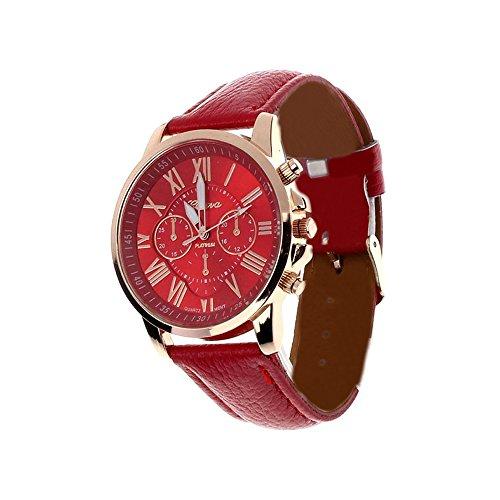 Fortan 2016 Frauen Kunstleder analoge Quarz-Armbanduhr-Rote