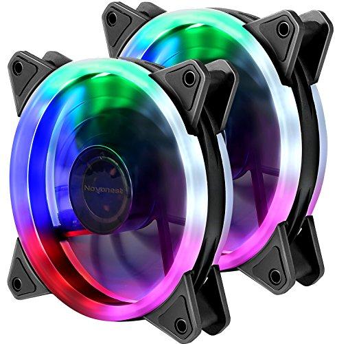 novonest upHere Computer-Gehäuselüfter 120mm LED Silent-Lüfter für Computer-Gehäuse, CPU-Kühler und Kühler Ultra-Leise, Twin Pack Bunter Gehäuselüfter (Pack Gehäuse)