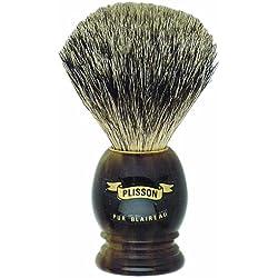 Plissons 5551 - Brocha de afeitar (pelo de tejón gris, tamaño 12, montura carey)