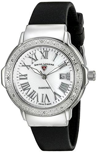 Swiss Legend South Beach Reloj de cuarzo para mujer con correa de silicona de color blanco esfera analógica pantalla y negro sl-20032dsm-02