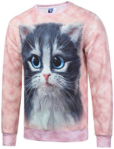Pizoff Unisex lange Ärmel Rundhalsausschnitt Elastische Winter Warm Thicken gefütterte Sweatshirts mit Cartoon lieblich katzen pink 3D Druck (Vintage-pullover Gefütterte)