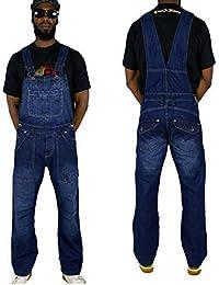 Peviani Combat Barre Jeans Hommes Salopette, Hip Hop Designer Ensembles Pyjama Combinaison Indigo
