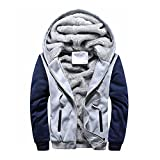 Yvelands Herren Winterjacke Herren Boy Hoodie Winter Warm Fleece Reißverschluss Pullover Charme Stilvolle Jacke Patchwork Hot Outwear Baumwollmantel