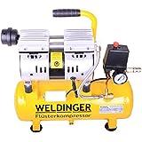 WELDINGER Flüsterkompressor FK 60 mit 9-Liter-Behälter; 550 W Druckluftkompressor; hochwertiges, ölfreies Aggregat (wartungsfrei)