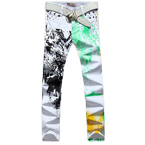 Men's Fashion American Flag Printing Causal Pants Demin Trouser Jeans