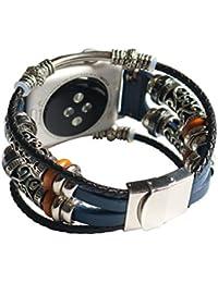 para Apple Watch Series 3 38mm, Pulsera de Cuero con Correa de Repuesto Correa