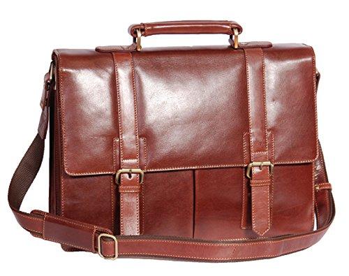 Herren Echtes Leder Aktenkoffer Hochwertiges Executive Laptop Bürotasche AV6 Braun neu (Executive-aktenkoffer)