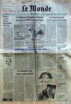 MONDE (LE) [No 15797] du 09/11/1995 - LE NOUVEAU GOUVERNEMENT DE M. JUPPE A POUR PRIORITES LA REFORME DE LA SECURITE SOCIALE ET LA REDUCTION DES DEFICITS - LE PDG DE TF1 MIS EN CAUSE DANS L'AFFAIRE DE LA FRANCAISE DES JEUX - LES JEUX OLYMPIQUES COMME PASSION - NAITRE OU NE PAS NAITRE CANCEREUX PAR JEAN-YVES NAU - LES EMBARRAS DU LIKOUD - L'AVENIR DU MONDE ASSOCIATIF - CONTRE-ENQUETE SUR LE MEURTRE DE GHISLAINE MARCHAL - LES ACROBATIES COMPTABLES DES ENTREPRISES - LENI RIEFENSTAHL SUR GRAND ECRAN par Collectif