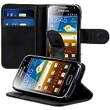 kwmobile Wallet Case Hülle für Samsung Galaxy Ace 2 - Cover Flip Tasche mit Kartenfach und Ständerfunktion in Schwarz