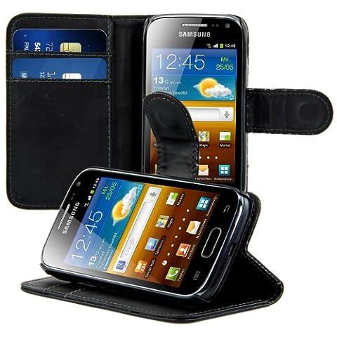 kwmobile Housse en cuir synthétique élégante pour Samsung Galaxy Ace 2 avec fermeture aimantée et fonction support en noir