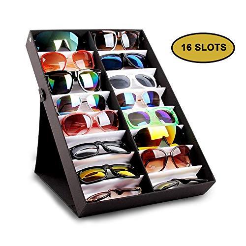 Sonnenbrillen Aufbewahrung - Brillenbox von 16 Brillen - Anzeigenkasten Präsentation Brillen display - Multifunktional Kasten für Brillen, Schmuck, Uhren - Gläser Aufbewahrungsbehälter (Schwarz)