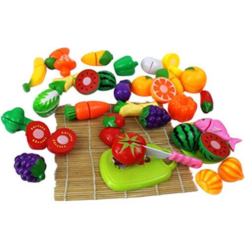 Preisvergleich Produktbild Qianle 24 Stücke Schneid Obst Gemüse Spielzeug als Geschenk,Erziehungsspielzeug,Familie spielen DIY Spielzeug Set