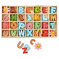 Kleenes Traumhandel Wooden box of Letters multicoloured - 2.5 cm high - 4 wooden letters each - 108 pieces