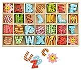 Buchstabenkasten Holz Bunt - 2,5 cm hoch - je 4 hölzerne Buchstaben mit Klebepunkten - 108 Teile