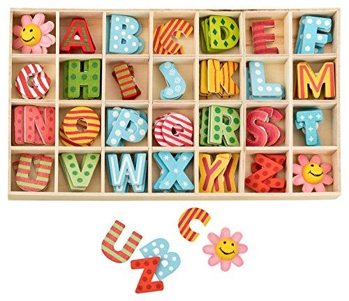 Kleenes Traumhandel Buchstabenkasten Holz Bunt - 2,5 cm hoch - je 4 hölzerne Buchstaben mit Klebepunkten - 108 Teile
