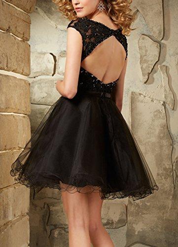 Bridal_Mall Damen mit rundem Halsausschnitt mit Flügelärmeln kurz Organza Abiballkleider Black