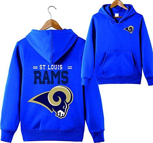SZRXKJ Männer mit Kapuze Langarm Buchstaben drucken ST Louis Rams Fußball Sport einfarbig Pullover Hoodies (L,blau)