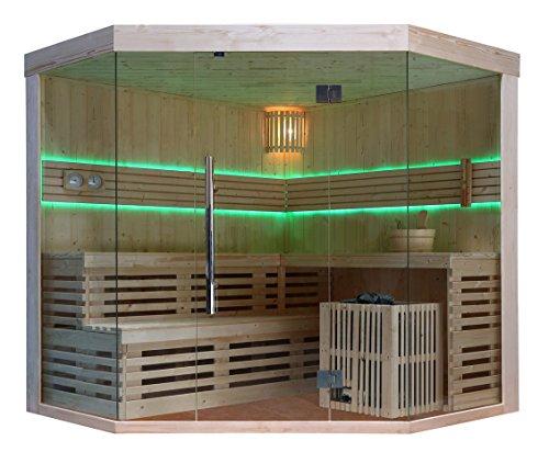 Sauna Saunakabine Sauna komplett Ecksauna Massivholz Traditionelle Sauna TS 4014L 200/200/210