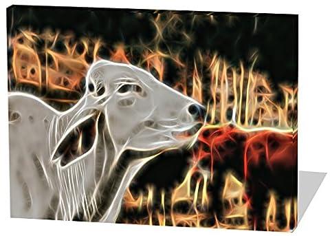 Die glückliche Kuh, Light Effect, schönes und hochwertiges Leinwandbild zum Aufhängen in XXL - 120cm x 80cm, echter Holzrahmen, effektiver Pigmentdruck, modernes Design für Ihr Büro oder (Feld 48 Tor)