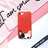 (Sleeping bear) Apple iPhone 6/6s Hülle/Case, Niedliches Cartoon Boston Terrier/Französische Bulldogge Haustier Hund Telefon Schutzhülle Hülle, Elastisch Schutzhülle Ultra Dünn, Stoßdämpfung, Anti-Scratch & Fingerprint & Öl-Fleck Case Cover + Handy-Lanyard.--One Dog