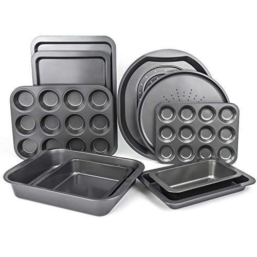 "Mastronics Premium Bakeware 10 Pack - Set of 10 Carbon Steel Baking Trays, Roasters, Muffin & Cake Tins - Dual Layer Teflon Silicone Non-Stick Coating - Dishwasher, Fridge & Freezer Safe - Premium 10 Set includes: 2 Oven Trays (Large & Medium), Large Roasting Tin, Multi-purpose Crisper, Pizza Pan, Loaf Tin, Biscuit Tin, Square Cake Tin, 12"" Cup Bun Sheet & 12"" Cup Muffin Tray"