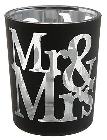 Santex 4975-11 Photophore Motif Mr & Mrs Verre Noir 12,5 x 6,5 x 7 cm