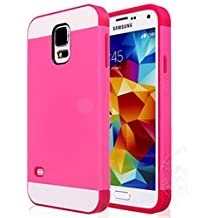 Semoss Ultra Slim Thin Hybrid Funda TPU Silicona para Samsung Galaxy S5 i9600 i9605 Hardcase Bumper Carcasa Case Cover - Rose