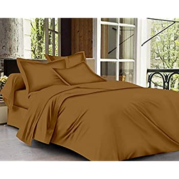 Trance Home Linen 100% Cotton 400TC Plain Bed Sheet with 1 Pillow Cover - (Single) Khaki Brown