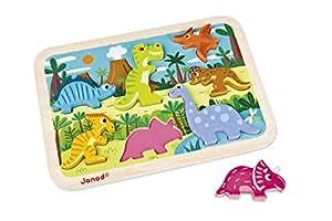 Janod J07054 - Chunky Holzfiguren-Puzzle Dinosaurier (7 teile)/Display 4 Stck.