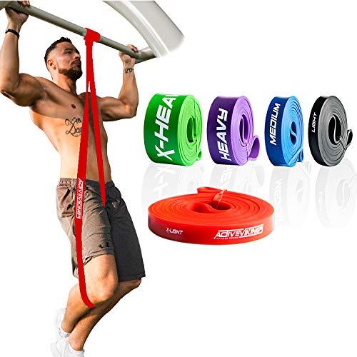 ActiveVikings® Pull-Up Fitnessbänder | Perfekt für Muskelaufbau und Crossfit Freeletics Calisthenics | Fitnessband Klimmzugbänder Widerstandsbänder (1 - Rot : X-Light (Sehr Leichter Widerstand))