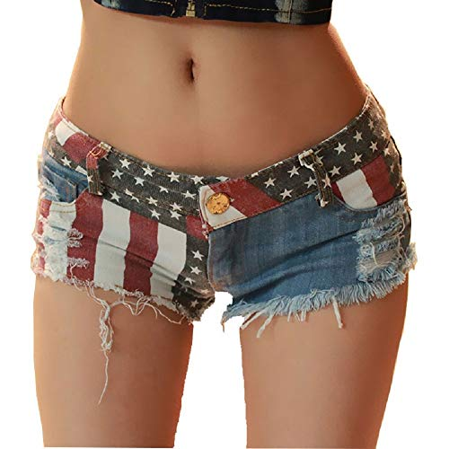 Ruanyi Mini-Jeans-Shorts, Low-Rise-Amerikanische Flagge Drucken Daisy Duke Zerrissen Denim-Shorts für Frauen (Size : M) -