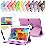 SVS 3in1 SET Tab S 10.5 360° Schutzhülle + Folie + Pen Samsung Galaxy Tab S SM-T800 / T801 / T805 Tasche Etui (Lila)
