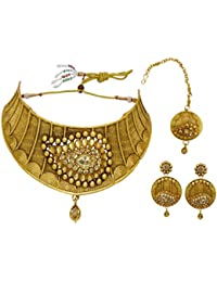 My Design Antique Gold Plated Bridal Set For Women And Girls