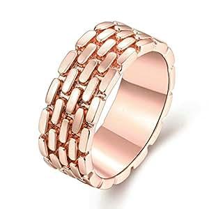 Moandy Donna Rosa Oro Placcato Dito Anelli Elegante Progettazione Hollow Geometric Mosaic Form Matrimonio Banda Dimensioni 17 rose Oro