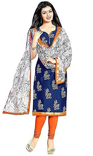 Rensila Women's Cotton Dress Material ( RF_Blue Salwar Suit_TP Dress Material_Blue_Free Size...