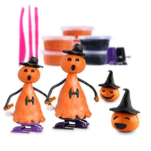 iBaseToy Halloween Knet-Set mit Oranger und Schwarzer Knete, Jack-O-Lantern Gesichtern, Modellierungstools und Aufziehbaren sich Bewegenden Füßen (Halloween Jackolantern Gesichter)