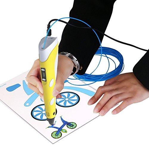 3D Pen 3D-Zeichnen und Kritzeln Erstaunliche Geschenk für Kinder 3D Drucker Stift zur Erstellung von dreidimensionalen Zeichnungen, Kunstwerken, Modellen, von Hand 3D Stift Druckerstift Pen 3 x 5=15M 1.75mm PLA enthalten (Gelb) - 3