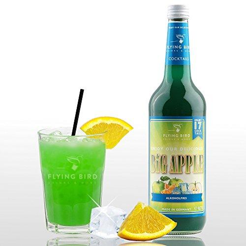 Big Apple Cocktail alkoholfrei - PreMix für 17 Mischgetränke - Flasche 0,7 l mit allen Zutaten - Einfach mit Orangenssaft & Eis mixen, fertig