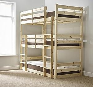 Three sleeper Bunkbed - 3ft Single Triple sleeper Bunk Bed - HEAVY DUTY