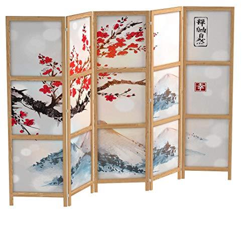 murando - Paravent XXL Kirschblüte Gebirge 225x171 cm - 5-teilig - einseitig - eleganter Sichtschutz - Raumteiler - Trennwand - Raumtrenner - Holz - Design Motiv - Deko - Japan p-B-0002-z-c