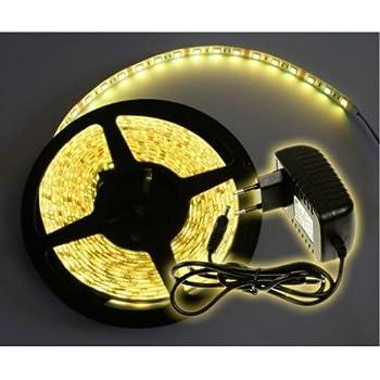 Kit complet Ruban LED Professionnel Flexible - 5 Mètres - 60 LED/M - Couleur Blanc Chaud - 3528