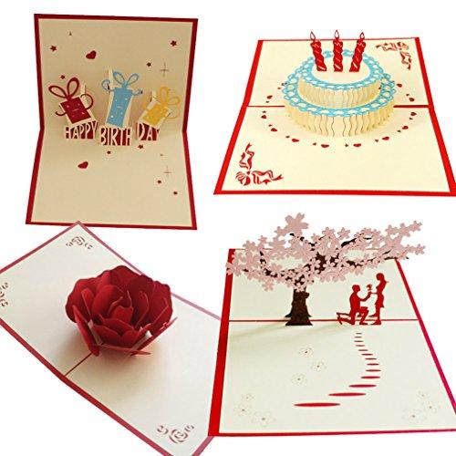 3D Paper Craft Grußkarten Cherry Blossoms Vorschlag Geständnis rot Rose Happy Birthday Kuchen-Freundinnen, Sweetheart, Frau-Geburtstag, Jahrestag Geschenk Einladung Karte ()