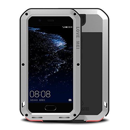 Huawei P10 Hüllen, Love mei Mächtig Leistungsstarke Schwerlast Hybride Aluminium Metall Rüstung Stoßfest Schneesicher Schmutzabweisend Staubdicht Schalen Case für Huawei P10 5.1 Zoll (P10, Rot) Silber