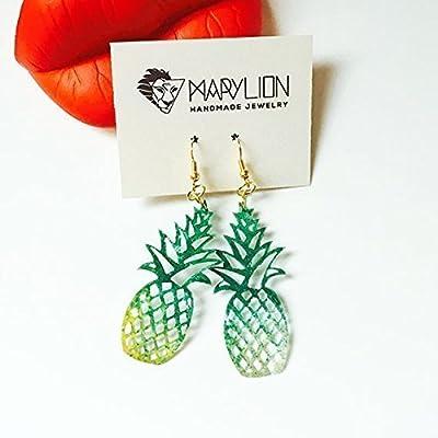 Boucles d'oreilles oranges à l'ananas - Boucles d'oreilles à gouttes antidérapantes - Bijoux à la mode - Bijoux à l'ananas - Bijoux Rockabilly - Boucles d'oreilles à la fine pointe de la mode