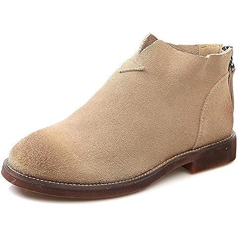 WZH Dedo del pie redondo ante corte bajo manga corta bota bota botín de Martin . khaki . 36